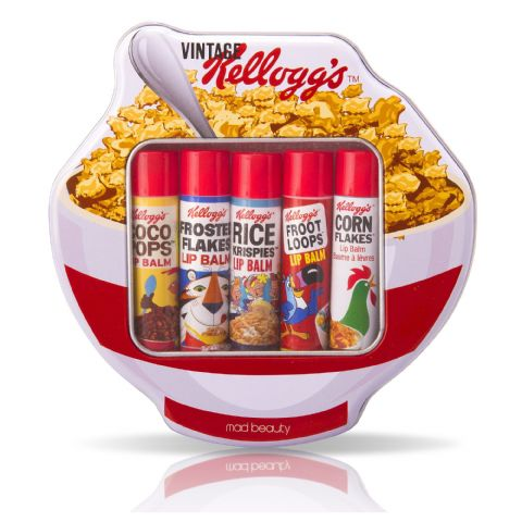 Kelloggs Cereal Lip Balm Sticks - Assorted Tin Gift Set - Retro 70's - Mad Beauty (Set of 5)